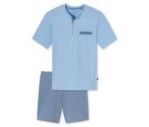 Schlafanzug kurz Knopfleiste gemustert indigoblau - Original Classics