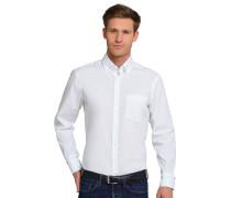 Hemd langarm bügelfrei Button-Down-Kragen weiß - REGULAR FIT