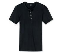 Shirt kurzarm mit Knopfleiste Doppelripp schwarz - Naturbursche