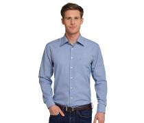 Hemd langarm bügelfrei Kentkragen Vichykaro blau-weiß - REGULAR FIT