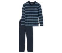 Schlafanzug lang Jersey V-Ausschnitt mehrfarbig geringelt - Original Classics