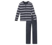 Schlafanzug lang Knopfleiste anthrazit-grau geringelt - Ebony