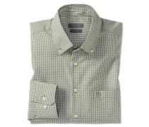 Hemd langarm bügelfrei Button-Down-Kragen khaki-weiß kariert - REGULAR FIT
