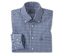 Hemd langarm bügelfrei Button-Down-Kragen weiß-blau kariert - REGULAR FIT