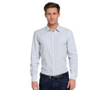 Hemd langarm bügelfrei Kentkragen grau-weiß gestreift - SLIM FIT