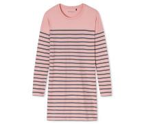 Sleepshirt langarm Ringel rosenholz-blaugrau – Aura