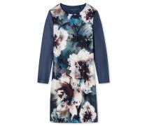 Nachthemd langarm Interlock Seidenfinish dunkelblau - Winter Blossoms