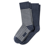 Herrensocken 2er-Pack Ringel dunkelblau meliert - Cotton Fit