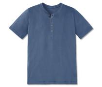 Shirt kurzarm Feinripp Henley Knopfleiste blau - Selected! Premium