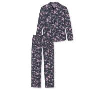 Pyjama lang Web-Viskose Blumen mehrfarbig - Midnight Florals