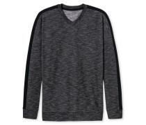 Shirt langarm Sweatware V-Ausschnitt anthrazit meliert - Autumn Lights
