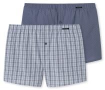 Boxershorts 2er-Pack graublau bedruckt - Essentials