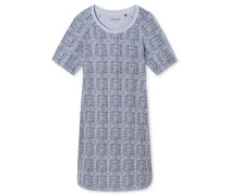 Sleepshirt kurzarm Modal-Jersey Punkte graublau - Go Indigo
