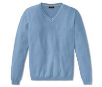 Pullover Strick Struktur V-Ausschnitt hellblau meliert - selected! premium