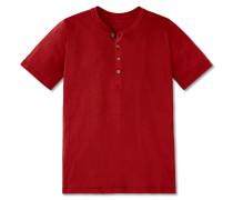 Shirt kurzarm Feinripp Henley Knopfleiste rot - Selected! Premium