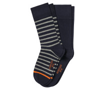 Herrensocken 2er-Pack Ringel navy - Cotton Fit
