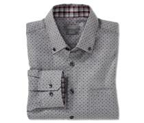 Hemd langarm Flanell bügelfrei Button-Down-Kragen grau meliert- REGULAR FIT