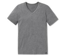 Shirt kurzarm V-Ausschnitt grau meliert - 95/5