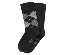 Herrensocken 2er-Pack schwarz/ Argyle-Karomuster - Cotton Fit