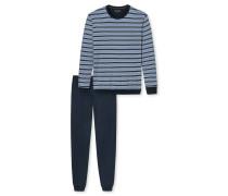 Schlafanzug lang Bündchen Ringel blau - Blue Hour