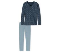 Schlafanzug lang Knopfleiste mehrfarbig gemustert - Aura