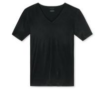 Shirt Interlock seamless kurzarm V-Ausschnitt schwarz- Laser Cut