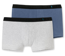 Shorts 2er-Pack indigoblau/ graumelange - 95/5