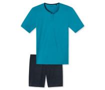 Schlafanzug kurz Knopfleiste Effektgarn türkis - Blue Hour