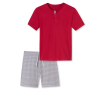 Schlafanzug kurz Serafino-Kragen rot - Endless Summer