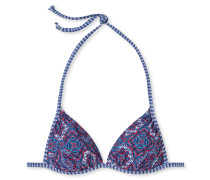Triangel-Bikini-Top Push-in/Push-up Mosaik mehrfarbig - Aqua Rimini