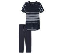 Schlafanzug 3/4-lang Ringel nachtblau - Original Classics