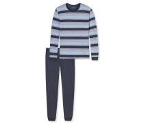 Schlafanzug lang Single Jersey Jacquard graublau gestreift - Tokio