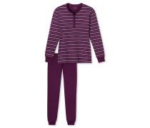 Schlafanzug lang Interlock Ringel Knopfleiste mehrfarbig - Winter Blossoms