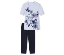 Schlafanzug T-Shirt 7/8-Hose Blumen hellblau - Sometimes feelin´ blue