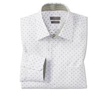 Hemd langarm bügelfrei Kentkragen weiß-khaki gemustert - REGULAR FIT