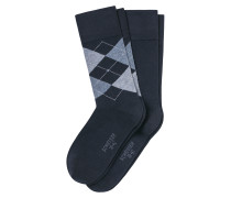 Herrensocken 2er-Pack navy/ Argyle-Karomuster - Cotton Fit