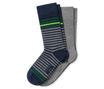 Herrensocken 2er-Pack Ringel dunkelblau/grau meliert - Cotton Fit