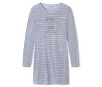 Sleepshirt langarm Ringel graublau - Go Indigo