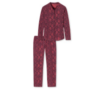 Pyjama lang Webware Viskose floraler Print brombeere - Allure