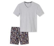 Schlafanzug kurz Blätterprint grau meliert - Endless Summer