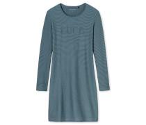 Sleepshirt langarm Interlock Jacquard Ringel mineral-blaugrau - Aura