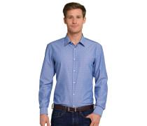 Hemd langarm bügelfrei Kentkragen blau-weiß gemustert - SLIM FIT