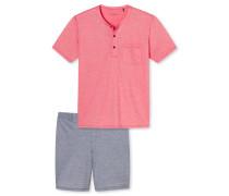 Schlafanzug kurz Piquee-Optik rot - Tokio