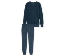 Schlafanzug lang Frotee Ripp-Bündchen blaugrau - Aura
