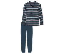 Schlafanzug lang Interlock Ringel Knopfleiste mehrfarbig - Aura