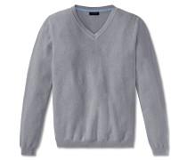 Pullover Strick Struktur V-Ausschnitt silbergrau meliert - selected! premium