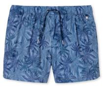 Swimshorts Webware blaugrau mit Palmen-Print - Aqua Rimini