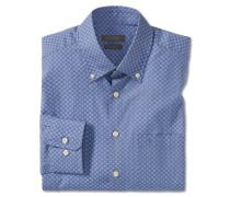 Hemd langarm bügelfrei Button-Down-Kragen blau gemustert - REGULAR FIT