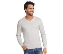 Pullover Strick Stichelgarn V-Ausschnitt natur - selected! premium
