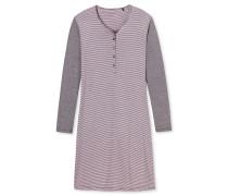 Sleepshirt langarm Ringel Knopfleiste graphit-rosa - Attitude